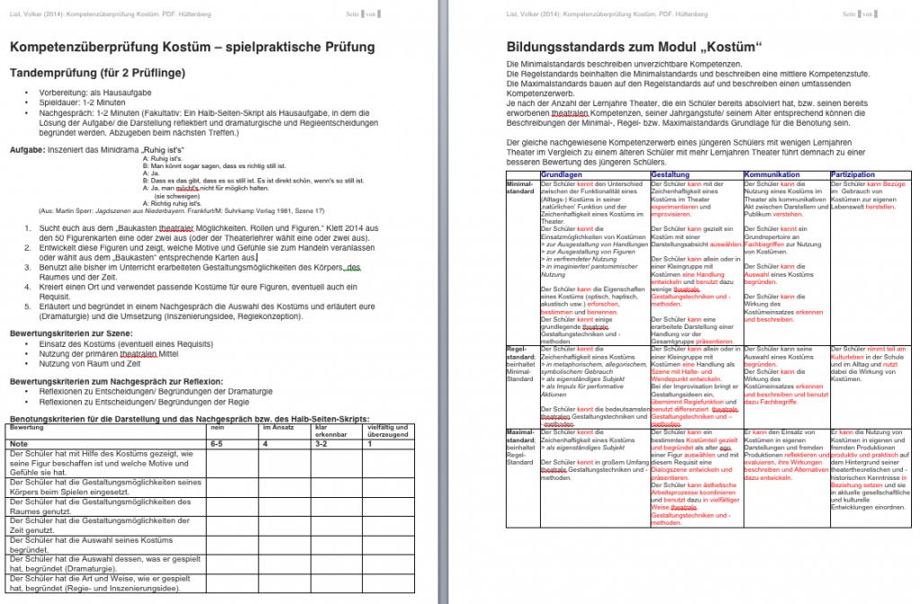 Kompetenzüberprüfung-Kostüm-Bildungsstandards