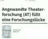 Fachzeitschrift Spiel & Theater porträtiert Angewandte Theaterforschung