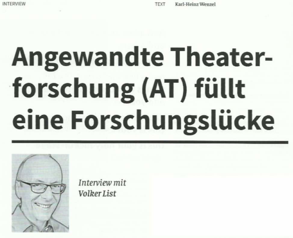 Spiel und Theater Interview Angewandte Theaterforschung und Volker List